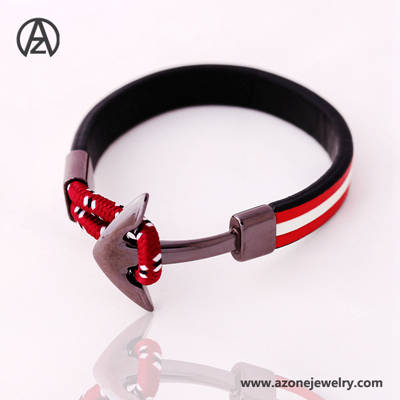 hot sale man stainless steel leather bracelet