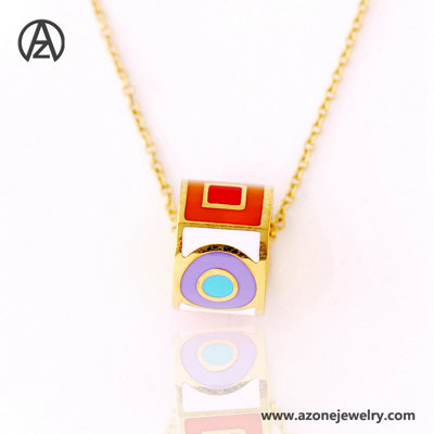 stainless steel muti color enamel necklace
