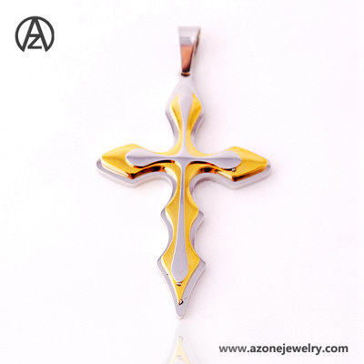 stainless steel multi color cross pendant