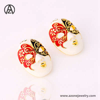 colorful poker chinese style earring