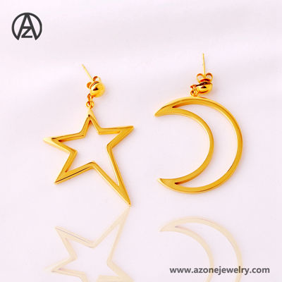star and moon pendant stud earring