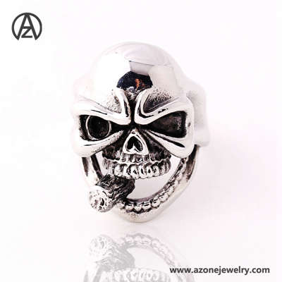 stainless steel punky skull ring