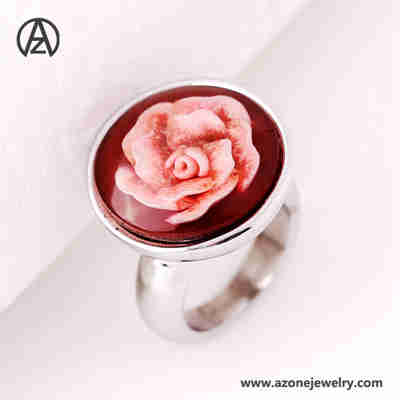 stainless steel flower enamel ring